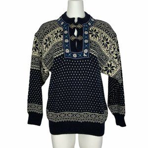 Christiania Pullover Sweater S Blue Wool Henley